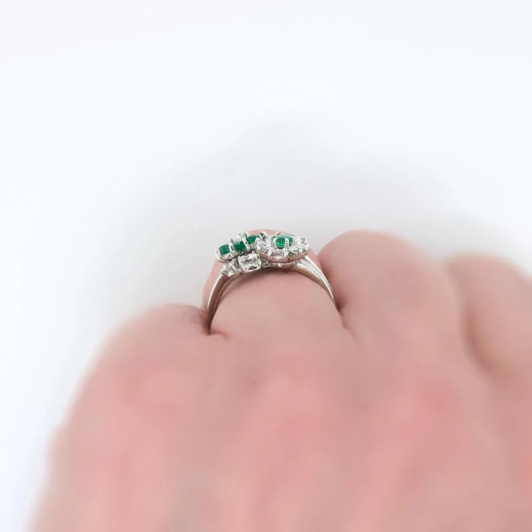 Vintage Emerald and Diamond Floral Bypass Ring 1.51ct t.w. Platinum ...