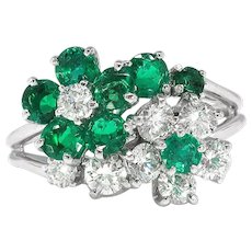 Vintage Emerald and Diamond Floral Bypass Ring 1.51ct t.w. Platinum
