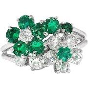 Vintage Oscar Heyman Emerald and Diamond Floral Bypass Ring 1.51ct t.w. Platinum