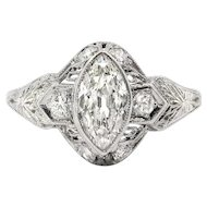 Vintage Art Deco 1930's Antique Cut Marquise Diamond Filigree Hand Engraved Engagement Anniversary Ring Platinum