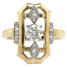 Art Deco Diamond Engagement Ring .40ct t.w. Old European Cut Diamond Ring 14k White and Yellow Gold