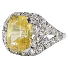 Vintage Sapphire Diamond Ring 5.03ct t.w. Canary Cushion Cut Yellow Sapphire & Diamond Engagement Anniversary Birthstone Ring Platinum
