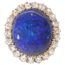 Vintage Opal Diamond Ring Bluebird Black Opal 6.18ct t.w. Victorian Antique Old European Cut Diamond Halo 18k Rose Gold Ring