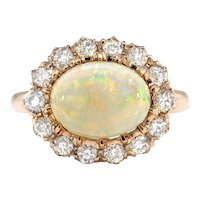 Antique Opal Diamond Ring Victorian 2.02ct t.w. Australian Crystal Opal & Old European Cut Halo Engagement Birthstone Ring 18k Rose Gold