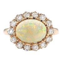 Antique Opal Diamond Ring Victorian 2.02ct t.w. Australian Crystal Opal & Old European Cut Halo Engagement Birthstone Ring 18k Rose Gold