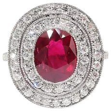 Unique 2.83ct t.w. Ruby & Double Diamond Halo Milgrain Platinum Engagement Cocktail Ring