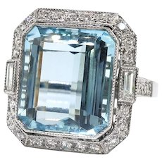Fabulous 8.50ct t.w. Emerald Cut Aquamarine & Old Cut Diamonds Birthstone Cocktail Wedding Engagement Ring Platinum