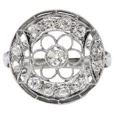 Art Deco .59 ct.tw. Diamond Filigree Floral Circle Ring Platinum