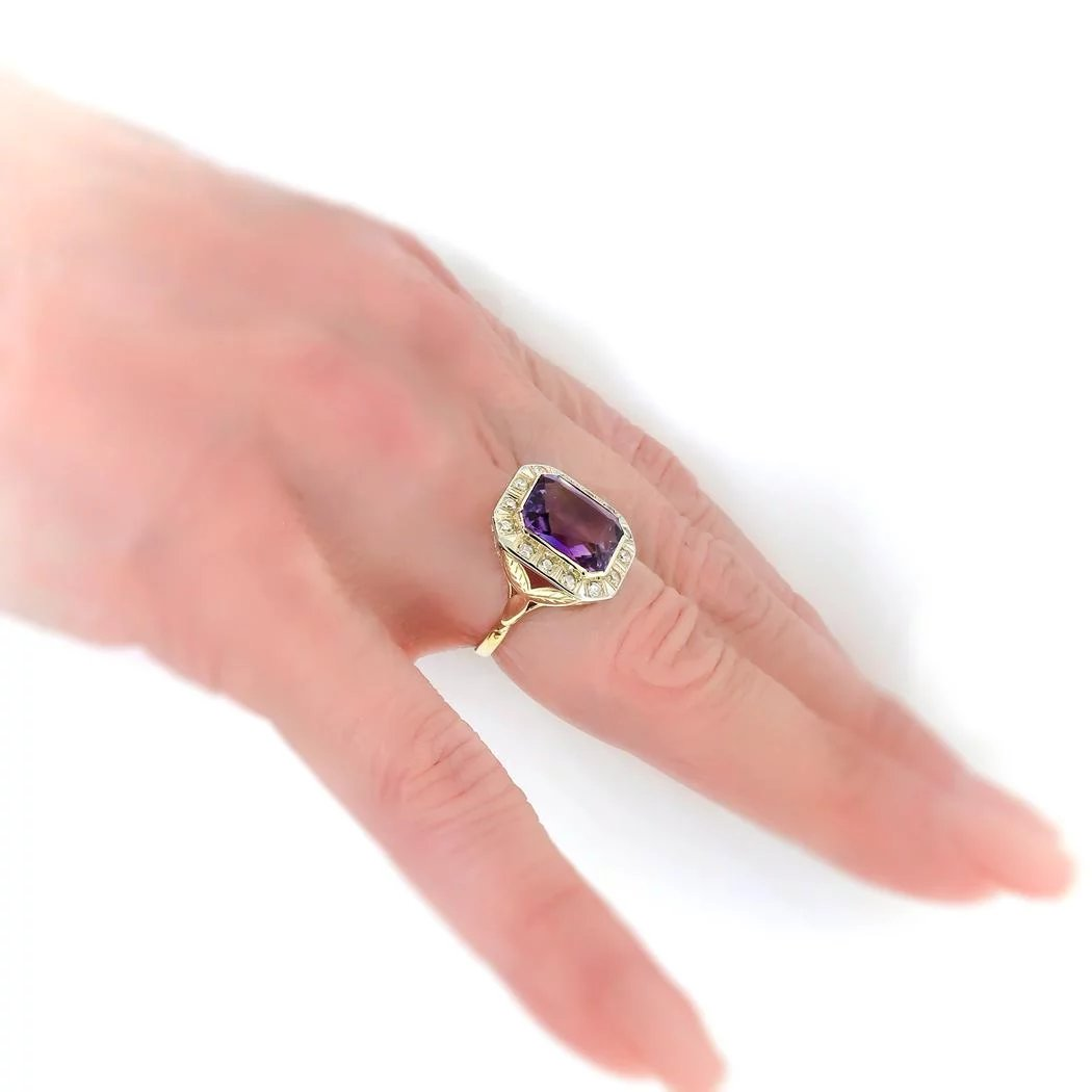 Art Deco 5.91 ctw. Amethyst and Diamond Halo Ring with Leaf Motif ...