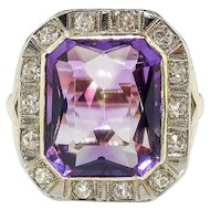Art Deco 5.91 ctw. Amethyst and Diamond Halo Ring with Leaf Motif 14k