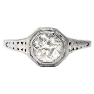 Art Deco .70ct Diamond Solitaire Engagement Ring Filigree 18k White Gold