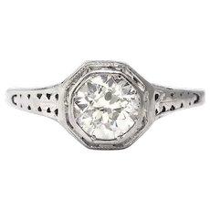 Art Deco .70ct Diamond Solitaire Engagement Ring Filigree 18k White Gold