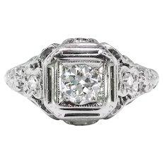 Art Deco Floral Filigree Diamond Engagement Ring 18k White Gold