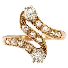 Antique Art Nouveau Diamond Swirl Ring 18k Rose Gold
