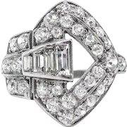 Art Deco 1.48ctw. Diamond Buckle Ring in Platinum