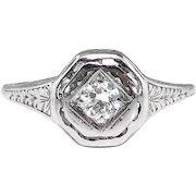 Art Deco .15ct Diamond Solitaire Platinum Octagonal Engagement Ring