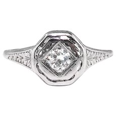 Art Deco .15ct Diamond Solitaire Platinum Octagonal Engagement Ring