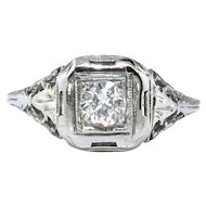 Art Deco .29ct Diamond Solitaire Filigree Engagement Ring 18k White Gold