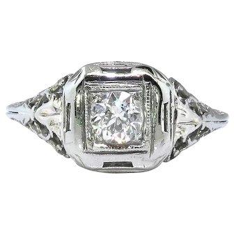 Art Deco .29ct Diamond Solitaire Filigree Engagement Ring 18k White Gold