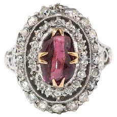 Antique Edwardian Garnet and Diamond Double Halo Ring 14k/SS