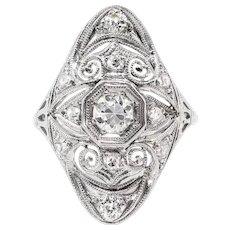 Art Deco .63ct.tw. Diamond Navette Platinum Ring - Red Tag Sale Item