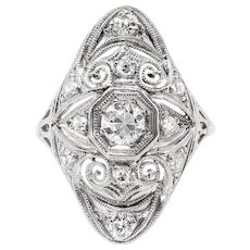 Art Deco .63ct.tw. Diamond Navette Platinum Ring