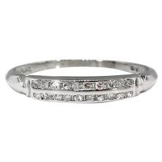 Art Deco .10ct Diamond Art Deco Double Row Wedding Band Ring Platinum