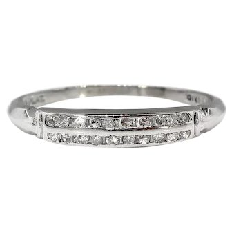 Art Deco .10ct Diamond Art Deco Double Row Wedding Band Ring Platinum