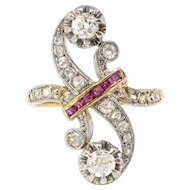 Antique Diamond Ruby Bypass Toi Et Moi Diamond Statement Cocktail Anniversary Ring 18k Platinum