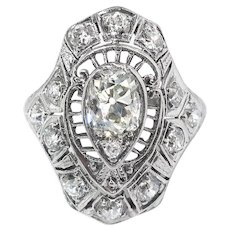 Vintage Edwardian Circa 1920's 1.42ct. tw. Diamond Filigree Ring Platinum