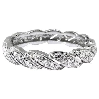 Vintage Art Deco Diamond Eternity Band Circa 1930's Stacking Wedding Anniversary Ring Size 7 Platinum