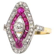 Edwardian Vintage 1920's Lab Ruby Antique Cut Diamond Anniversary Cocktail Ring 18k