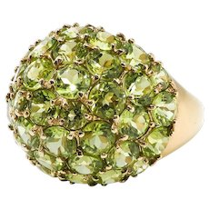 Gorgeous 10.29ct t.w. Peridot Pave' Dome Cocktail Statement Ring 14k