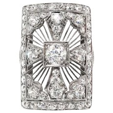 Huge Antique Edwardian 2.65ct t.w. 1920's Old European Cut Diamond Statement Anniversary Cocktail Ring Platinum