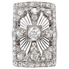 Huge Antique Edwardian 2.65ct t.w. 1920's Old European Cut Diamond Statement Anniversary Cocktail Ring Platinum