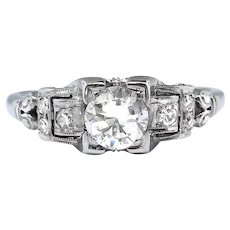 Art Deco Vintage .50ct t.w. Old Cut Diamond Engagement Ring 18k White Gold