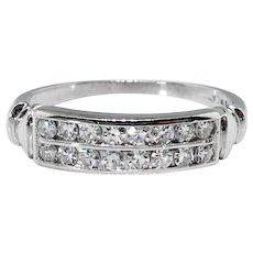 Vintage 1940's Diamond Double Row Wedding Anniversary Band Ring Platinum