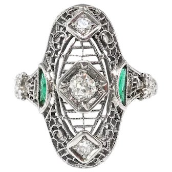 Vintage Art Deco Old Cut Diamond Filigree & Emerald Ring 18k White Gold