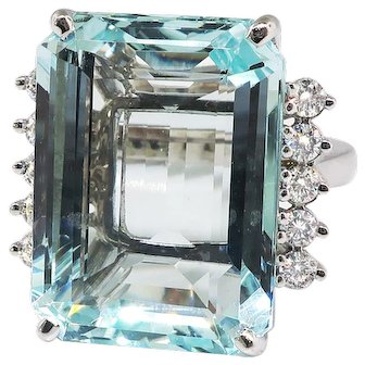 Vintage Aquamarine Diamond Ring 14.65ct t.w. Cocktail Statement Wedding Meghan Markle Ring 14k White Gold
