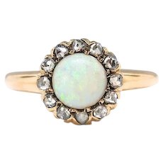 Antique Opal Diamond Ring Circa 1900's Natural Opal Rose Cut Diamond Halo Rose Gold Engagement Ring 14k