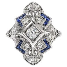 Art Deco Diamond Sapphire Ring Circa 1930's .44ct t.w. Filigree Navette Vintage Antique Ring 18k White Gold