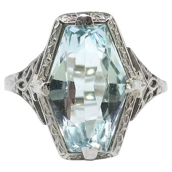 Art Deco 1930's 3ct Fancy Marquise Aquamarine Birthstone Cocktail Wedding Filigree Ring 18k White Gold