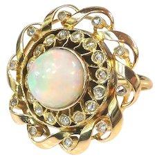 Vintage Opal Diamond Ring Circa 1940's Antique Style 2.66ct t.w. Rose Cut Diamond Halo Ring 18k Yellow Gold