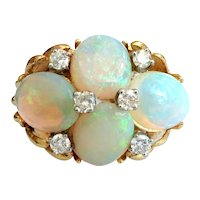 Vintage 8.10ct t.w. Opal Diamond Ring Circa 1970's Huge Cocktail Statement Anniversary Birthstone Ring 18k