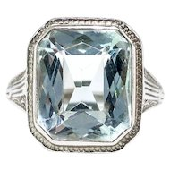 Art Deco Aquamarine Ring Circa 1930's 4.66ct Birthstone Cocktail Wedding Engagement Filigree Hand Engraved Ring 18k White Gold