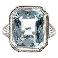 Art Deco Aquamarine Ring Circa 1930's 4.66ct Birthstone Cocktail Wedding Engagement Filigree Hand Engraved Ring 18k White Gold