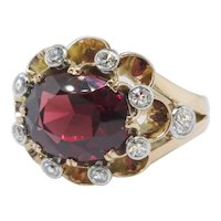 Vintage Garnet Diamond Ring Circa 1940's 6.04ct t.w. Unique Old Mine Cut Diamond Halo Ring 18k Yellow White Gold