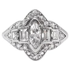Art Deco Engagement Ring Circa 1930's .76ct t.w. Marquise Mixed Cut Diamond Filigree Hand Engraved Ring Platinum