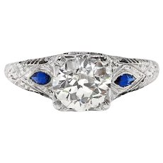 Art Deco 1.14ct t.w. Vintage Old European Cut Diamond Filigree Sapphire Engagement Ring 18k
