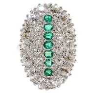 Antique Emerald Diamond Ring Circa 1900's Old European Cut Diamonds & Emeralds Cocktail Statement Ring 14k Platinum
